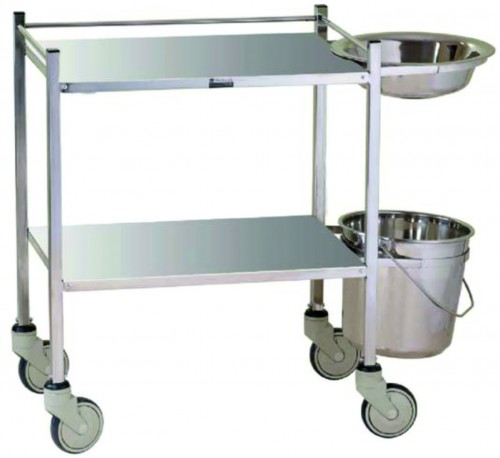 Dressing Trolley -S.S- 2 shelves with bucket and basin